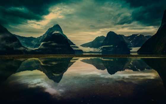 природа, горы, картинка, landscape, anime, озеро, новая, zealand, семейного, небо,