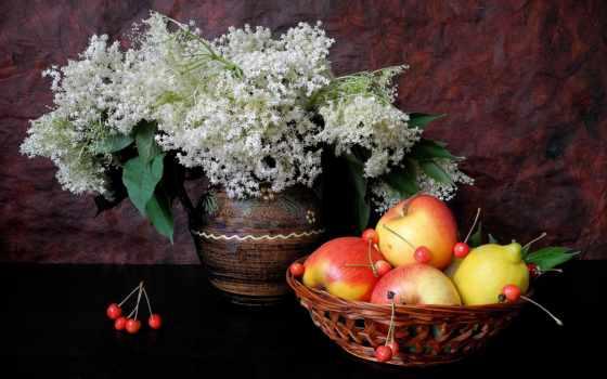 фрукты, lemon, натюрморт, ваза, cvety, apple, cherry,