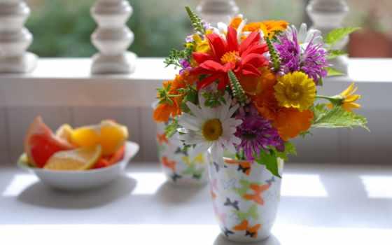 cvety, букет, summer, ромашки, ваза,