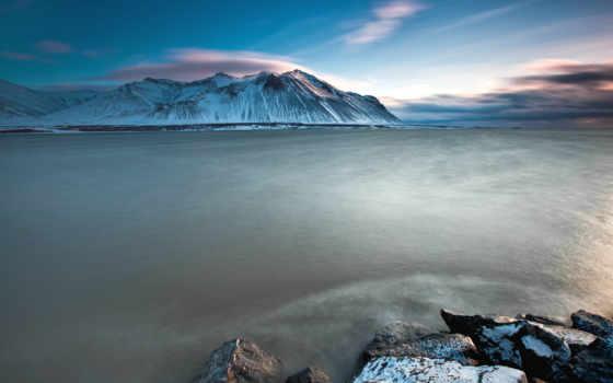 ecran, islande, fonds, fond, montagnes, мер, iceland, природа, soleil,