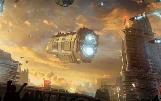 корабль, cosmic, небо, фантастика, будущее, город, oblaka, пустыня, fireworks, art, праздник,