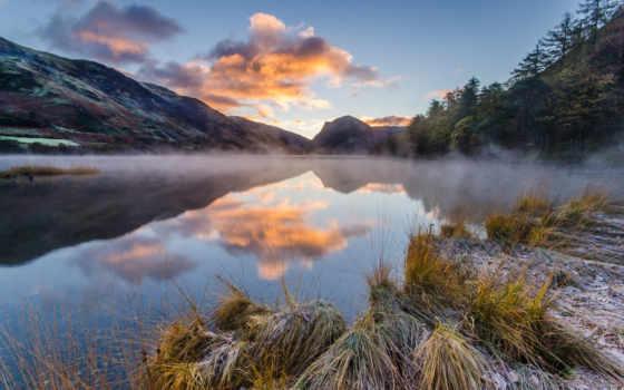 озеро, отражение, top, images, утро, mountains, волк,