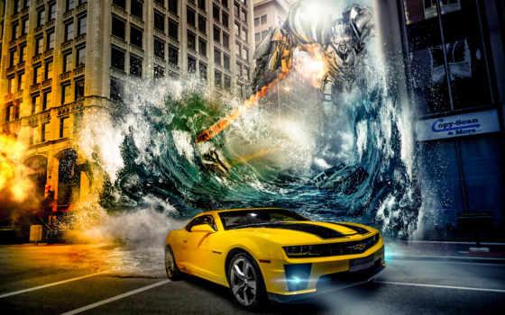 robot, машина, water, город, chevrolet, transformers, camaro, трансформеры,