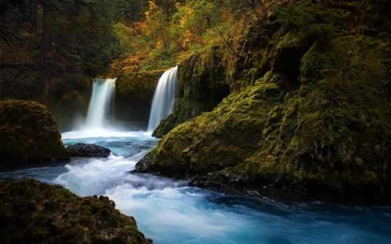 лес, природа, мох, водопад, камни, река,