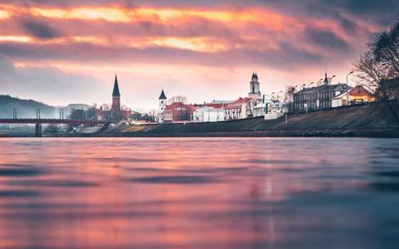 kaunas, город, литва, закат, небо, red, река