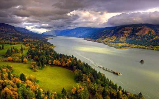 северная, америка, река, осень, колумбия, ноябрь, берега, небо, тучи, природа, картинку, история,