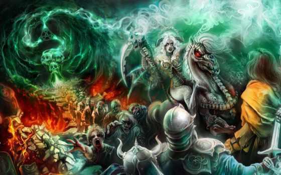 necromancer, девушка, нежить, портал, магия,