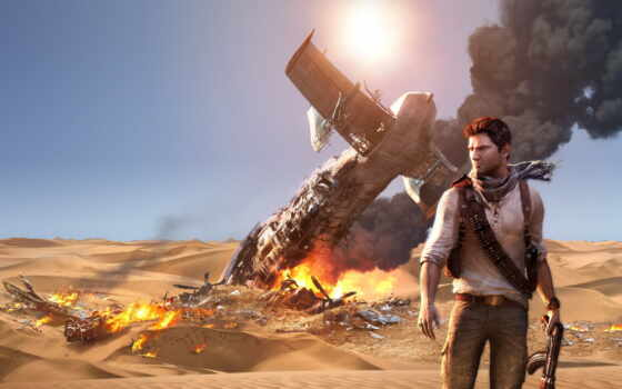 uncharted, игры, deception, drake, drakes, among, пистолет, thieves, огонь,