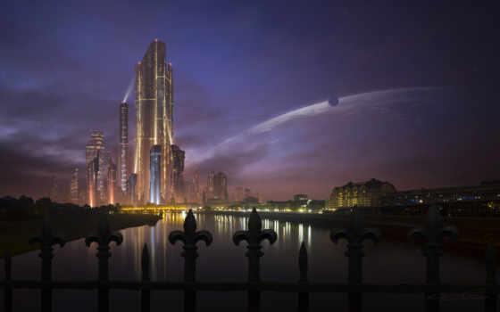 город, будущего, фоны, фантастика, города, теме, заставки, будущее, мост,