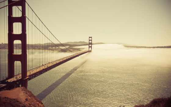 мост, san, золотистый, gate, ocean, deep, house, природа, год,