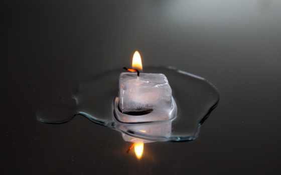 свеча, пламя, огонь, reflecting, лед, гладь, серый, dogorauschii