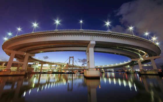мост, tokyo, радуга