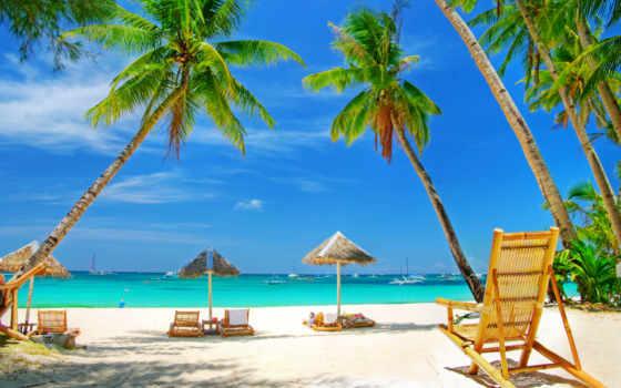море, пляж, песок, пальмы, отдых, зонтики,