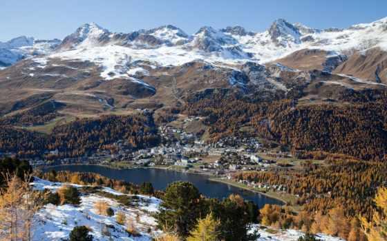 moritz, октябрь, швейцария, muottas, озеро, winter,