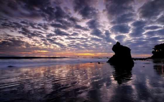 пляж, malibu, angeles, los, california, закат, море, landscape,