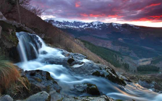 гора, ручей, камни, небо, лес, горы, водопад, закат, склон, скалы, природа,