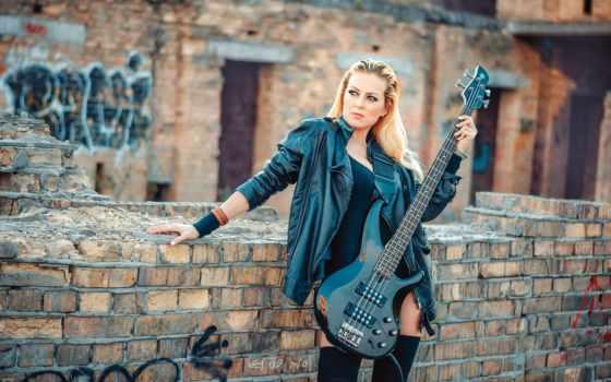 blonde, гитара, bass, картинка, desktop, black, devushki,