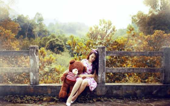 you, девушка, грустный, скучать, teddy, cute, настроение, love,