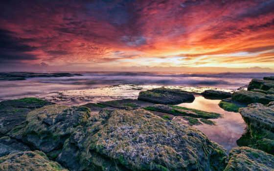 ocean, камни, небо, море, фоны, категории, bottom, картинка, туман, изображения, две,