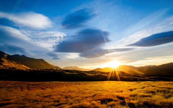 amanecer, landscapes, you, montaña, об, после, fondos, сол,