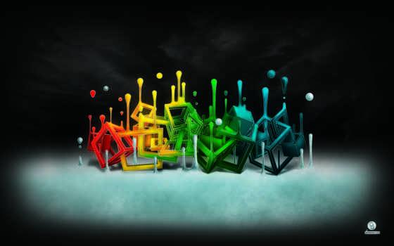 абстракция, кубики, цветные, разных, обоя, расплываются, каплям,