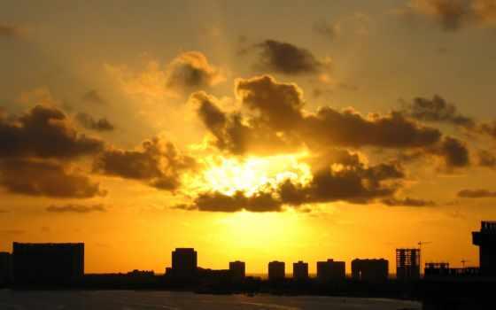 закат, солнца, oblaka, sun, против, со, банка, закатом, городом, time,