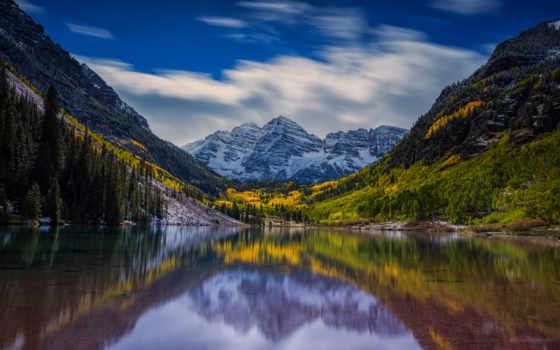 , озеро, отражение, зеркало, горы,