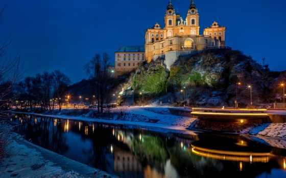 ночь, мелк, обитель, austrian, stift, rock, города, wachau, огни, фонари, австрии,
