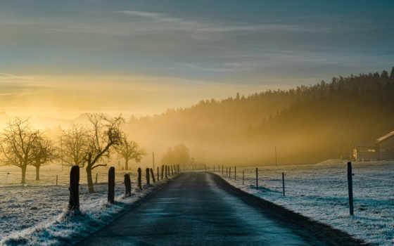 туман, дорога, природа, иний, утро, картинка, иней, рассвете,