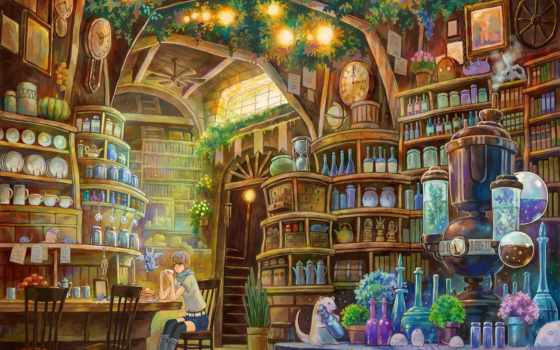 оборудование, библиотека, книги, девочка, лаборатория, anime,