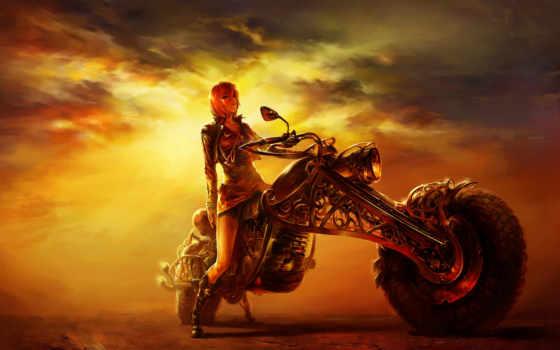 мотоцикл, рисунок, девушка