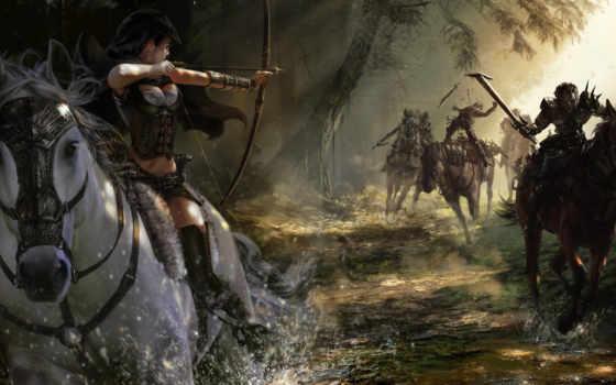 кони, art, девушка, лук, лучница, run,