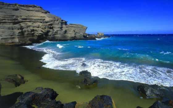 пляж, papakolea, называют, hawaii, остров, большой, зелёный, еще, пляжем,