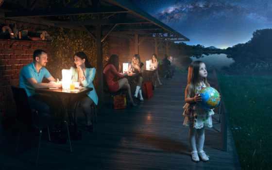 девушка, шар, кафе, cosmos, люди, небо, фонари, вечер, звезды, planet, мяч,