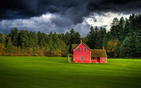 поле, house, ферма, небо, лес, red, британская, канадский, тучи, langley, форт,