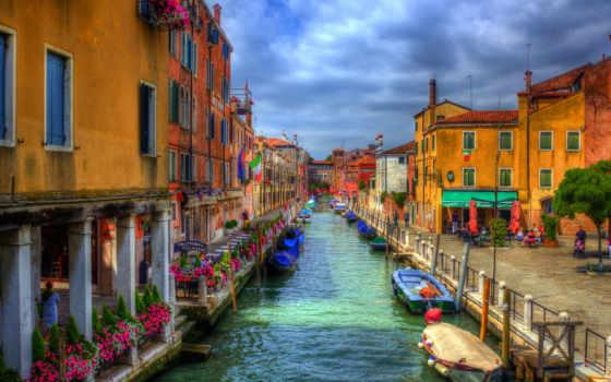venezia, канал, города, картинка, венеции, улица, italian, дома, water, cvety,