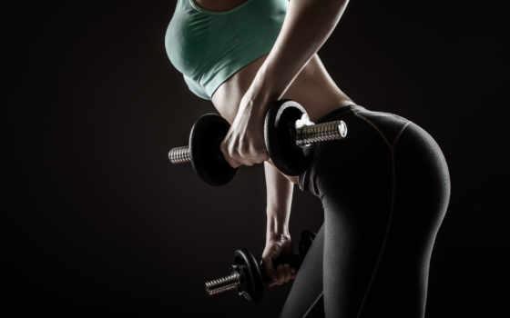 фитнес, гантели, девушка, фигура