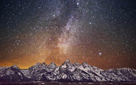 grand, teton, путь, со, млечный, ночь, фото, park, images, взгляд, stock,