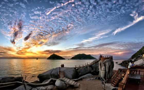 таиланд, bay, сиамский, ко, остров, thai, tao, небо, oblaka, закат,