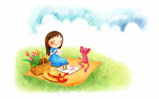 нарисованные, девочка, медвежонок, пикник, корзина, цветы, бутерброды, шляпа, чашки