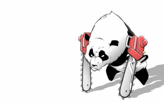 панда, картинка, chainsaw, пила, white,