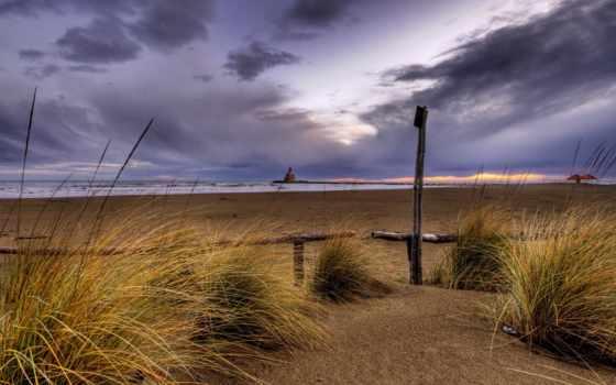 пляж, трава, пасмурный, небо, this, landscape, природа,