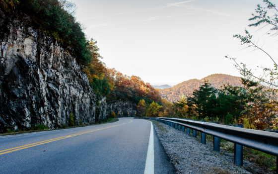 дорога, горы, осень, georgia, сша,