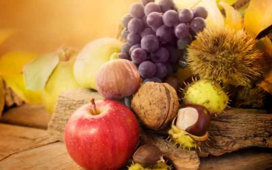 осень, листва, виноград, apple, каштаны, орехи, фрукты,