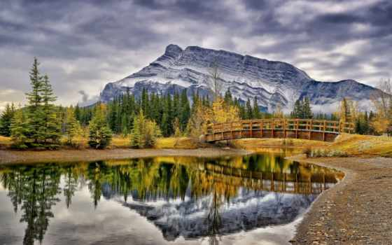 природа, канадский, горы, мост, trees, park, осень, пейзажи -, пруд, лес, канада,