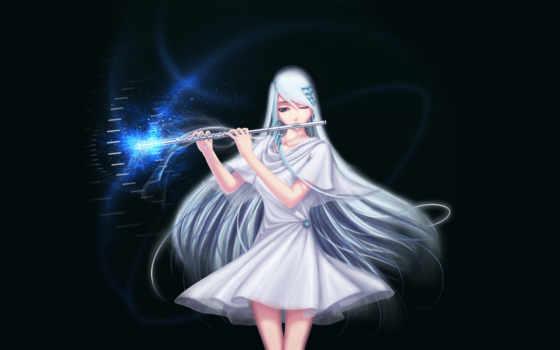 девушка, art, платье, флейта, anime, магия, волосы, белое, заколки, darkmuleth,