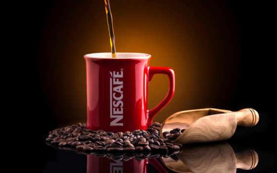 coffee, nescafe, circle, scoop, зерна, отражение, cup