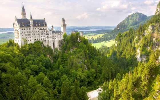 castle, под, небо, пасмурный, journey, noishvanshtaina