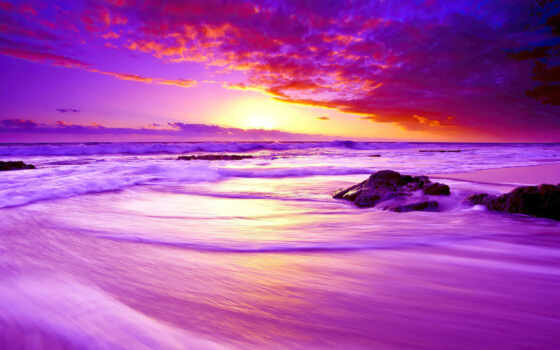 закат, пляж, purple, море, небо, качественные, free, kraiolyi, биг, заставка