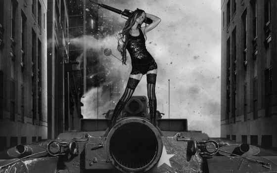 оружие, танк, девушка